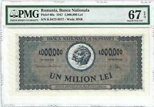 P-60a 1947 1,000,000 Lei, Romania, Banca Nationala, PMG 67EPQ SUPERB GEM !