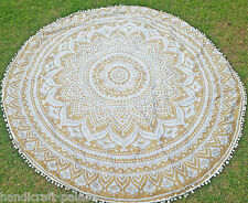Gold Ombre Mandala Round Tapestry Bohemian Beach Yoga Mat Throw Indian Roundie