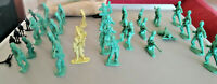 37 Small Toy Soldiers Kids Set, Army Men, Green, Black and Yellow, Bag included