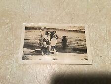 RARE ORIGINAL NATIVE AMERICAN PHOTO 1914 FAMILY WITH CHILDREN & LOG CABIN LOT