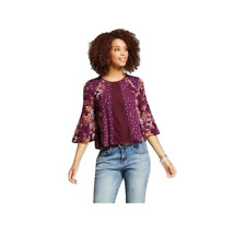 NEW Xhilaration Women's Junior's Printed Bell Sleeve Top Size M