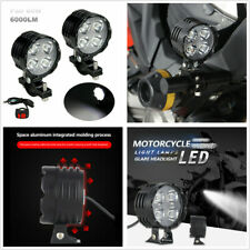 2 Pcs 40W 3 Modes Motorcycle LED Spot Light Driving Fog Lamp Waterproof w/Switch