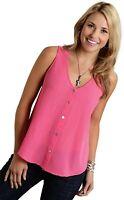 Roper 243190 Womens Georgette Sleeveless V-Neck Tank Top Pink Size Medium