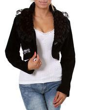 Black Crop Fashion Jacket w/front button lace design. Size  Small &  Medium.