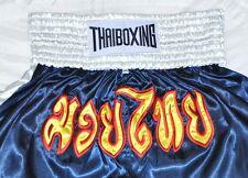 MUAY THAI SHORTS PANTS KICK THAI BOXING MMA PANTS FIGHTER SIZE XXL NAVY&WHITE