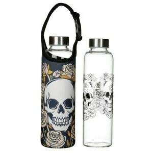 GOTHIC SKULL & ROSES 500ML GLASS WATER DRINK BOTTLE W/ BAG & HANDLE  FREE UK P&P