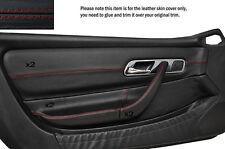 RED STITCH 2X FRONT DOOR CARD TRIMS SKIN COVERS FITS MERCEDES SLK R170 96-04