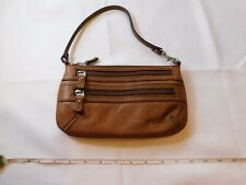 Fossil SWL9777215 Maddox Convertible Top Zip Chestnut leather purse wristlet *^