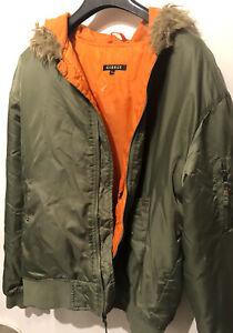 Parka Men's Bomber Jacket L parka nylon shiny  MA 1 Glanz 90s