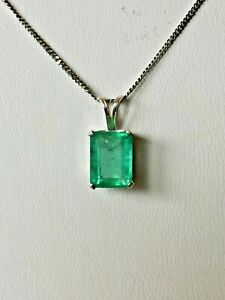 Green Emerald Faceted Rectangular pendant 1.75 ctw with 14k white gold chain