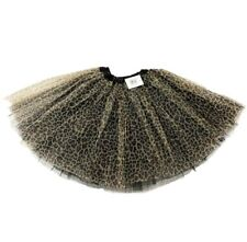 Black Brown Leopard Print TUTU Fancy Dress Costume Skirt Dance Halloween Cat UK