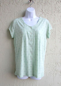 NEW ARIA WOMENS PJ'S GREEN FLORAL SOFT COTTON BLEND S/S BUTTON PAJAMA SET SMALL