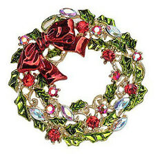 Colourful Christmas Circle Wreath Brooch Full of Rhinestones Pin Gift BR142