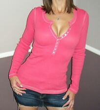 898cbcecce0114 Very Sexy Deep V Neck Plunge Cleavage Contrast Henley Thermal Top Pink S M