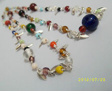 INDIAN LOVE MULTI BEAD NECKLACE GLASS AND SILVER LEAF VINTAGE STYLISH JEWELLERY