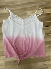 LOST STOCK OMBRE PINK WHITE VEST SIZE MEDIUM 12/14 TIE LACE DETAIL TOP