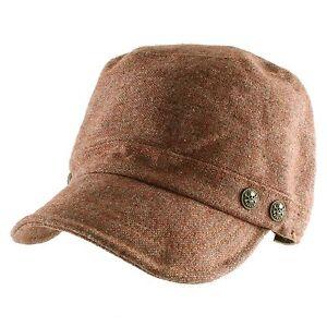 Wool Textured Cap with Skull Button Newsboy Irish Hunting Gatsby Cabbie Hat