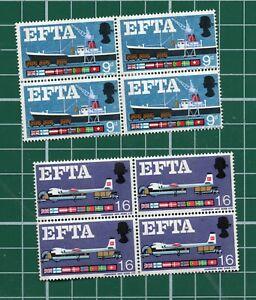 GB 1960's EFTA block of 4 Phosphor MNH unmounted mint A