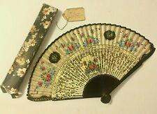 Vintage Spanish Hand Fan ~ Hand Painted Flowers ~ Provenance ~ Antique