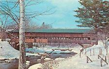 Jackson NH Covered Bridge Postcard winter scene snow