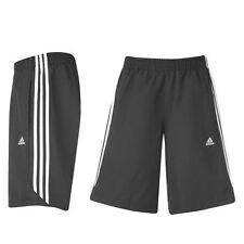 Authentic Nero Adidas Uomo Medium 3 Stripe Pantaloni Pantaloncini Fodera In Rete