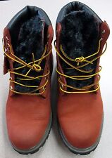 "Timberland Men's Hommes 6"" Red Size 9M #6604A Pre-Owned FREE SHIPPING Backroom"