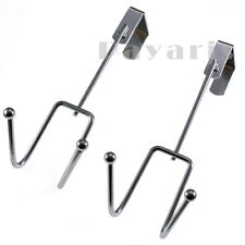 Heavy Duty Stainless Steel Over The Door Hooks Overdoor Cloth Hanger 2 Pc