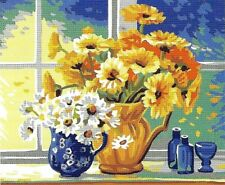 A WINDOWSILL OF DAISIES NEEDLEPOINT TAPESTRY canvas to stitch! FREE POST