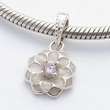 DAHLIA FLOWER DANGLE CHARM Bead Sterling Silver.925 f European Bracelet 632