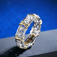 Lady jewelry Gold Silver Plated Zircon Ring Crystal Engagement Wedding Bridal