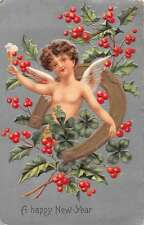 Happy New Year young male angel horseshoe champagne antique pc Z25858