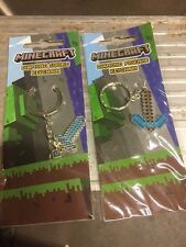 Minecraft Metal Keychains, Set Of Both Diamond Sword And Pickaxe