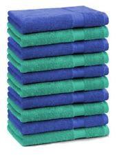 Lot de 10 serviettes débarbouillettes Premium: vert émeraude & bleu royal