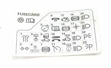 VW Passat B5 98-05 Fuse Diagram Reference Card 3B0 010 207 H