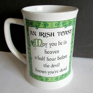 Vintage AN IRISH TOAST Heaven Devil Coffee MUG CUP CERAMIC Russ Berrie FREE SH