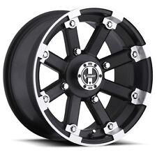 4-NEW Vision 393 Lockout ATV/UTV 14x7 4x110 +3mm Black/Machined Wheels Rims