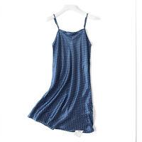 Womens 100% Pure Silk Full Slips Chemise Babydoll Nighties Sleepwear Size M Blue