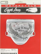 """HARLEY HANDLEBAR CLAMP COVER ''LIVE TO RIDE"""" 56592-92T CHROME INLAY"""