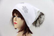 Beanie Mütze mit Strass, Damen Wintermütze mit Schneeflocken und Kunstfellbommel