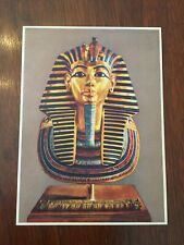 The Pharaoh Tutankhamun coin/medal chain hole & unaddressed postcard Egypt