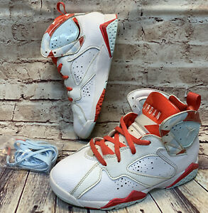 Air Jordan Retro 7 White Topaz Mist White Basketball Shoes  442961-104 Size 1.5Y