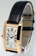 Cartier RARE LEFT HANDED American Tank 18k Rose Gold Watch Box/Papers W2608756