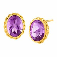 2 1/2 Ct Natural Amethyst Button Stud Earrings in 14k Gold