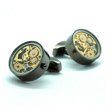 Deluxe Grey Glass Faced Round Steampunk Watch Movement Cufflinks With Gift Box