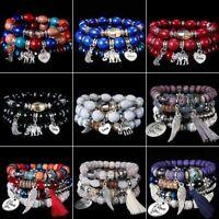 Boho Women Multilayer Natural Stone Crystal Beaded Bracelet Bangle Jewelry