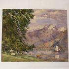 Aquarelle ancienne paysage de montagne bord de lac voilier début XX arbres