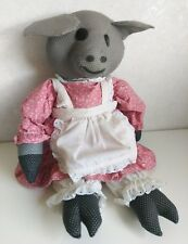 Vintage Handmade Pig Rag Doll Pink floral dress White apron farm country Grey