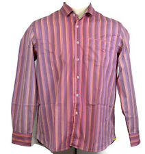 Tommy Bahama Mens XL Pink Blue Striped Button Front Long Sleeve Cotton Shirt