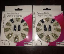Sassy+Chic* 12pc Fashion Nails Glue On Stiletto Shape Stiletto Square