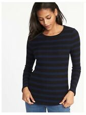 14a666f9835 New Old Navy Women Plush Ribbed Knit Black   Blue Stripped Top Long Sleeve  SZ XS